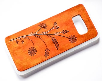 iPhone 7 Plus Case | Leather with Flowers and Leaves