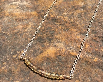 Tricolored sapphire gemstone bar necklace on sterling silver