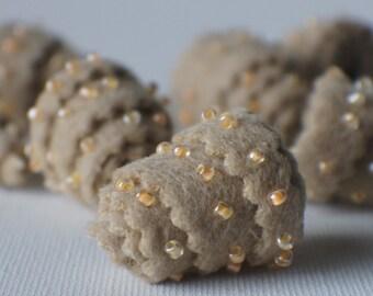 Felt Beads, Extra large Beads, Tan shades Beads, Felt Balls Felt Beads Felted Balls Wool Beads, Round