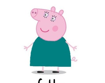 Peppa Pig Auntie # 10 - 8 x 10 - T Shirt Iron On Transfer - Birthday Girl