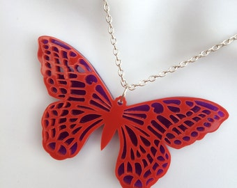 laser cut layered perspex 'Butterfly' summer necklace