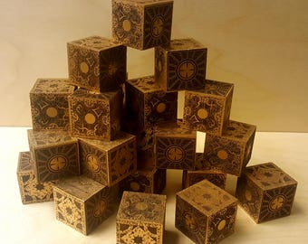 "Hellraiser Cube - 1.5inch solid Walnut with Gold trim - Lament Configuration - ""The Box"" - NOT functional"