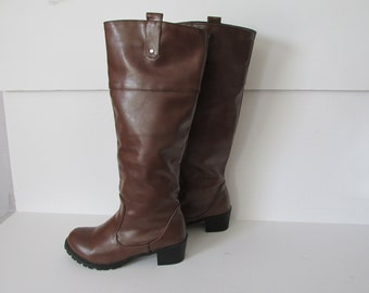 Brown Boots Womens Tall Boots Brown Womens sz 8 Euro 38 Boots   Bohemian Boots With Tread Brown Riding Boots