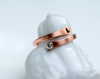 initial copper ring, adjustable initial ring, Arthritis Ring, copper jewellery, copper rings, rustic ring, custom ring