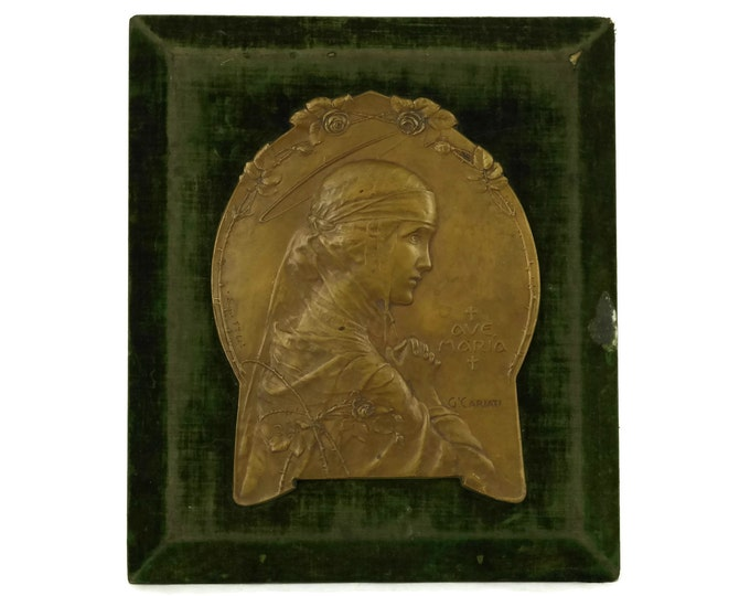Virgin Mary Antique Bronze Plaque by Giovanni Cariati. Ave Maria Catholic Wall Hanging. Art Nouveau Christian Home Decor & Gifts. Marian Art