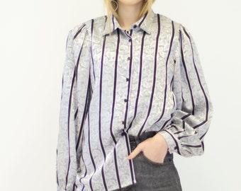 VINTAGE Grey Striped Leaf Print Long Sleeve Retro Shirt