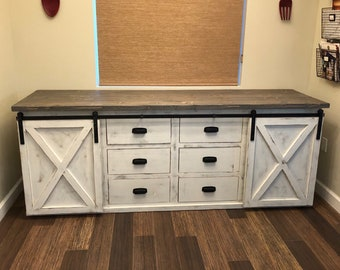 Large Barn Door Vanity with Drawers
