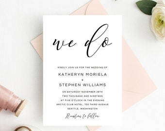 Wedding Invitations Template, Calligraphy Script Wedding Invitations Templates, DIY Wedding Invitations, Simple Elegant We Do Invitations