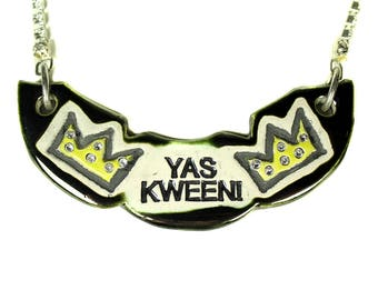 YAS KWEEN! Sparkle Surly Ceramic Necklace With Rhinestone Chain