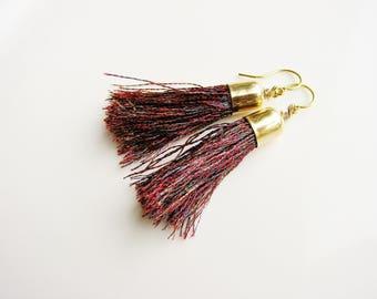 Red Tassel Earrings, Fringe Earrings, Boho Earrings, Minimalist Earrings, Tassle Earrings