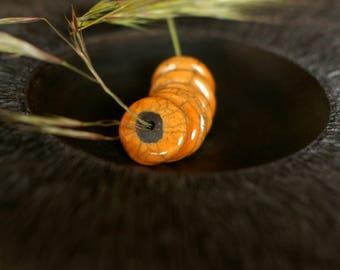 Set of 2 raku - orange - yellow disk beads