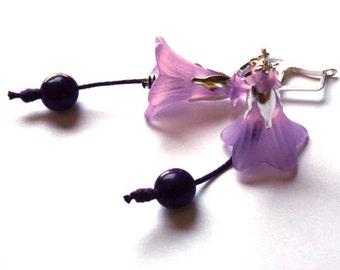 Morning Glory Earrings - Lilac -  Purple Violet