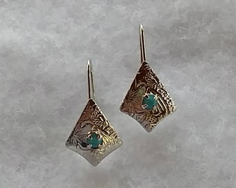 Vintage Silver Earring with Blue Stone Center