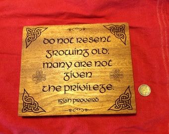Grandmother, grandfather, parents, gift, reclaimed wood, Irish proverb.