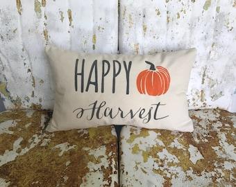 FALL Autumn HAPPY HARVEST on Lumbar Pillow cream cotton canvas Fun Painted Burlap Throw Accent Pillow Home Decor Farm House