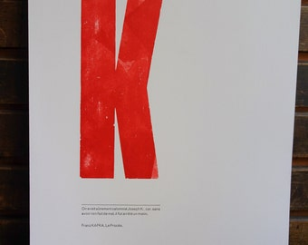 Letterpress poster Kafka's Trial quote in french
