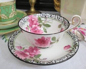 Antique Vintage Art Nouveau Royal Doulton Teacup & Saucer Duo - antique pink roses