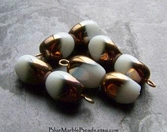 Boho Charm, Beaded Charm, Glass Bead Charm, White & Gold, Vintage Finding, Rose Gold Charm, Vintage Pendant, Boho Jewelry Supplies, 4 Charms