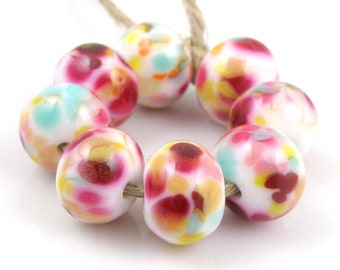 Summer Picnic SRA Lampwork Handmade Artisan Glass Donut/Round Beads READY to SHIP Set of 8 8x12mm