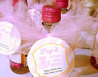 "Tutu Champagne Favor Tag. Ballerina ""Pop it when she pops"" favor tag. Personalized. *DIGITAL FILE*"