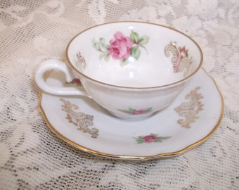 Schumann Demi Tasse Cup & Saucer Germany US Zone Pink Roses Gold Trim