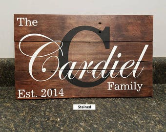 Last Name Sign, Wedding Gift, Housewarming Gift,  Farmhouse Sign, Girlfriend Gift, Rustic Decor, Kitchen Decor, Anniversary Gift, Rustic