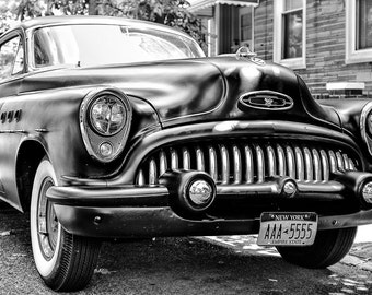 Classic Car Photography - Classic Buick Eight, Brooklyn, New York, Classic Roadster, Muscle Car, Vintage Car, 8x12 Black & White photograph