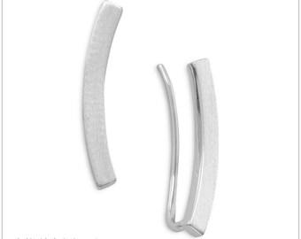 Rhodium Plated Curved Bar Ear Climbers -  Ear Climbers - Ear Climber Earrings