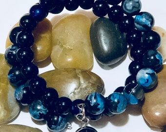 Memory Wire Glass Bead Bracelet, Blue, Black,Free Shipping,Nubiansensations
