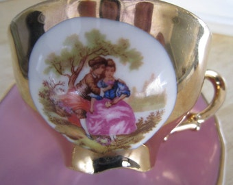 Kronester Courting Couple Demitasse RGK Czechoslovakia Saucer