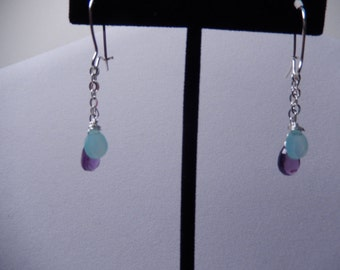 Chalcedony and Amethyst Dangle Earrings
