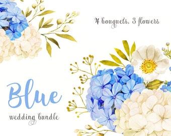 Flower watercolor clipart, Floral Clipart, Blue jasmine clipart, Hydrangea clipart, Blue white Clipart, blue gold clipart, white roses