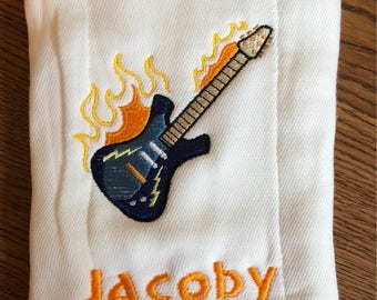 Embroidered Personalized ~FLAMING GUITAR~ Baby Burp Cloth