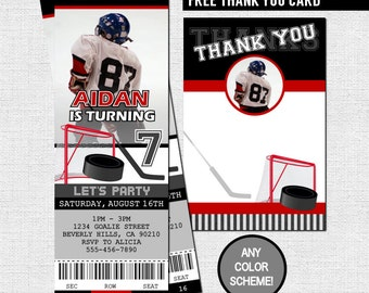HOCKEY TICKET INVITATIONS + Free Thank You Card Birthday Party (print your own) Any Color! Personalized Printable File