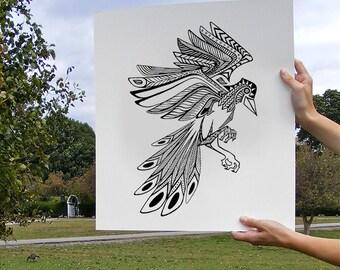 Bird Print, Aztec Feathers, Feather Artwork, mocking bird, bluejay hybrid, phoenix, bird art print, black and white ink print, customizable