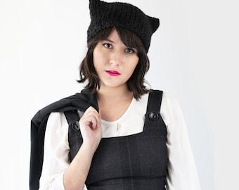 Cat Hat Beanie - Cat Ear Beanie - Kitten Hat in Black - Knit Ear Hat - Winter Accessories - Knit Kitten Hat   The Orion Hat  