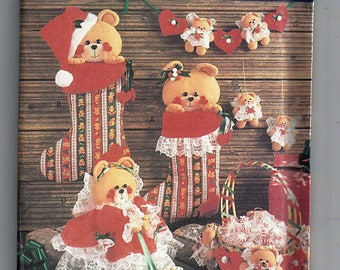 Sweet Teddies Christmas Decorations and Nursery Accessories / Original Butterick Uncut Sewing Pattern 6307