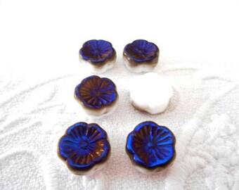 x 6 12 mm white and iridescent Czech glass Hawaii flower beads blue.