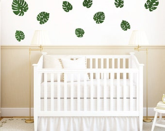Palm Leaves Fabric Wall Decals - Watercolor Palm Leaf