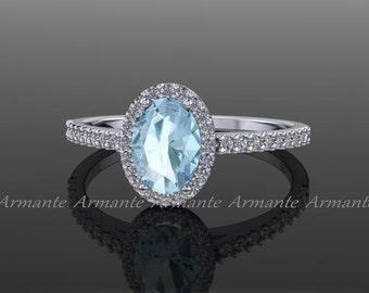 Diamond Aquamarine Ring, Natural Aquamarine Halo Ring, Oval Aquamarine, Natural Diamonds, 14K White Gold RE00174AQ