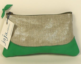 Coin purse LOUISE ANNA shiny linen and emerald leather