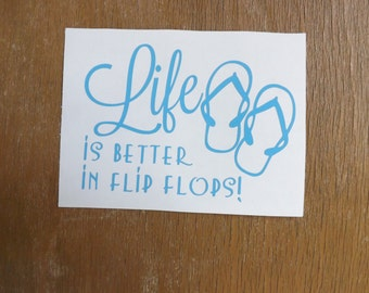 Life is Better in Flip Flops Peace sign decal, Vinyl Decals, flip flops,car decal, yeti decal, laptop decal, window decal, tumbler decals,