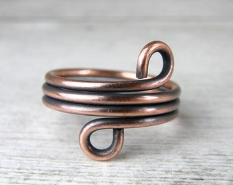 Antiqued Copper Wire Wrap Ring, Adjustable Made to Order Wire Ring for Men or Women