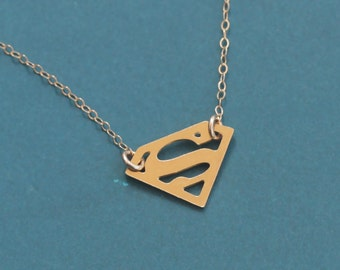Superman Necklace, Gold Superman Pendant, Superman Chocker, Small Superman Charm, Superman Jewelry, Super Hero Necklace, Supergirl Necklace