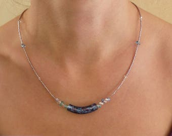 Angled purple/blue Lampwork Bead Necklace