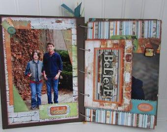 Custom 6x9 scrapbook/chipboard scrapbook/custom/photos/children/boy/girl/gift/unique/completed scrapbook/6x9/distressed/vintage/memories