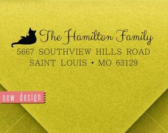 CUSTOM address STAMP from USA for cat Lover, pre inked stamp, Wedding Stamp, rsvp stamp return address stamp with proof, Houesewarming d5-30