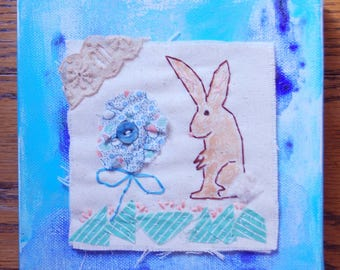 ARTWORK textile ORIGINAL, vintage fabrics with hand embroidery, Easter bunny, spring