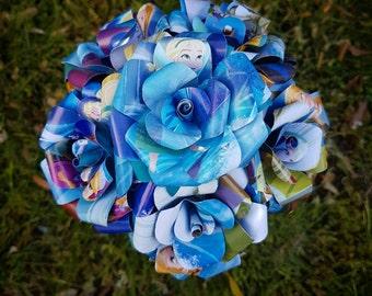 Frozen Elsa Book Bouquet-Decor-Wedding-Bridal Bouquets-Book lover gift-Disney- paper flowers - birthday gift - Valentines day