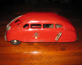 Vintage BUDDY L Scarab Wind Up Pressed Steel Mystery Car 1930s Very Nice Condition And